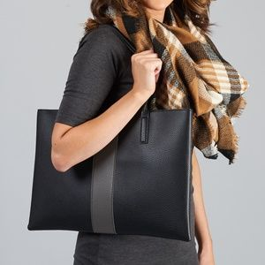 Vince Camuto Vegan Leather Luck Tote Black/Grey